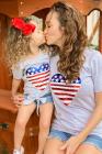 Топ с узлом и пайетками Mommy Patriotic Flag