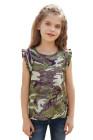 دبابة للفتيات الصغيرات بطبعة كامو خضراء