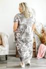 Vestido largo gris con estampado tie-dye y aberturas
