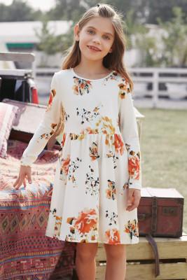 فستان أطفال سوينغ أبيض زهري بجيوب مخفية