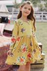 فستان أطفال سوينغ بنقشة الزهور مع جيوب مخفية