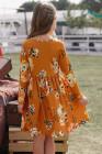 فستان أطفال سوينغ برتقالي مزهّر مع جيوب مخفية