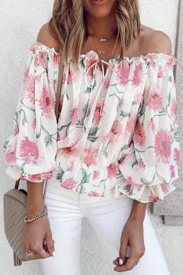 Blusa con hombros descubiertos y estampado floral