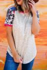 Top de empalme de rayas de colores de vaca leopardo