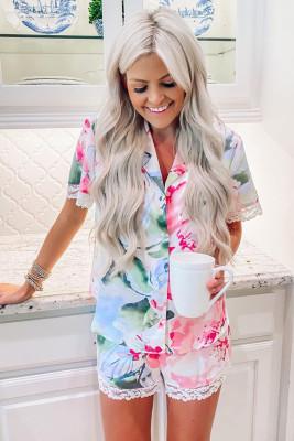Ensemble de pyjama short avec bouton à revers et imprimé floral multicolore