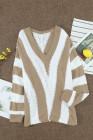 Khaki gestreifter Colorblock V-Ausschnitt-Strickpullover