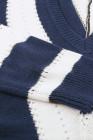 Blau gestreifter Colorblock V-Ausschnitt-Strickpullover