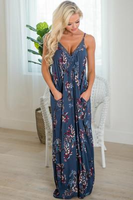 فستان ماكسي كروشيه أزرق بدون أكمام بياقة على شكل V وجيوب مطبوعة