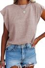 Camiseta rosa de mezcla de algodón con cuello redondo