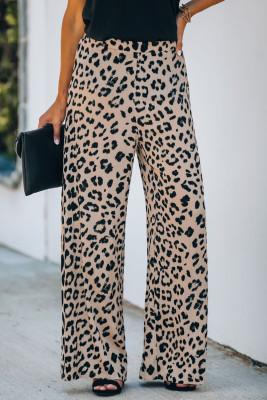 Pantalones anchos de tiro alto con estampado de leopardo