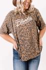 Top de talla grande con estampado de leopardo marrón