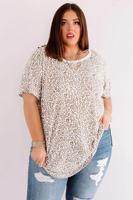 Camiseta de cambio de leopardo de talla grande