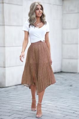 تنورة ماكسي بطبعة جانبية بطبعة عصرية لون بني
