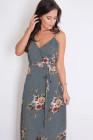 فستان ماكسي ملفوف باللون الرمادي بنقشة الزهور مع شق