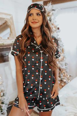 Атласная рубашка с коротким рукавом с принтом Black Hearts и пижамный комплект с шортами