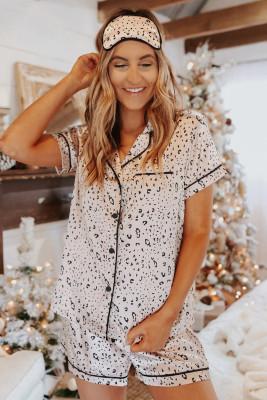 Ensemble pyjama chemise et short en satin à imprimé léopard