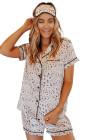 طقم بيجامة قميص ساتان بأكمام قصيرة وشورت بطبعة ليوبارد