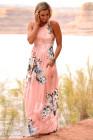Vestido largo de cintura alta con print de flores rosa