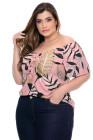 Top rosa con estampado tropical de talla grande
