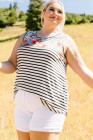 Camiseta sin mangas con estampado floral y rayas de talla grande