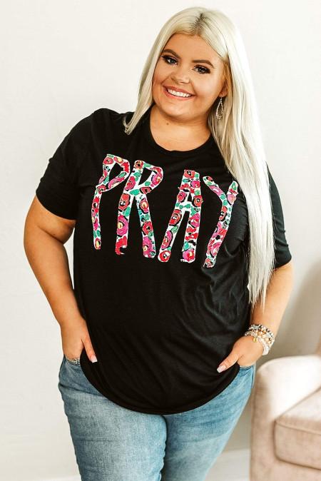 Camiseta con gráfico PRAY de talla grande
