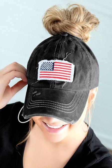 Черная кепка-булочка с флагом США