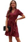 Mini-robe portefeuille à volants et col en V imprimé bohème rouge