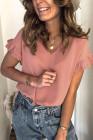 Camiseta de manga corta con volantes y cuello en V rosa