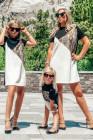 فستان ميني تي شيرت برقبة جلد الأفعى مطابق للأسرة