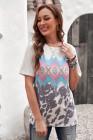 T-shirt multicolore à imprimé géométrique aztèque