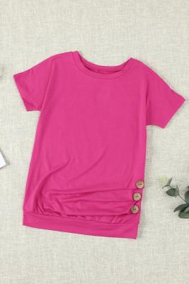 T-shirt à manches courtes à boutons roses pour petites filles