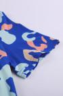 Ensemble de salon t-shirt léopard bleu clair et short à cordon de serrage