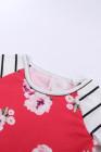 ربيع أحمر قذف الأزهار مخطط كم فستان قصير للأطفال