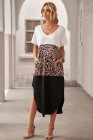 Vestido estilo maxi casual con mezcla de algodón y leopardo de colorblock