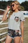 Camiseta de empalme floral con acento de lentejuelas grises