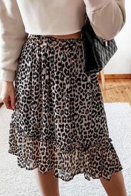 تنورة ميدي متدرجة بخصر مرتفع بنقشة جلد الفهد