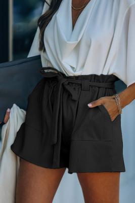 Pletené kraťasy z černé bavlněné směsi