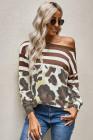 Chemisier à manches longues léopard rayé marron