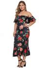 Vestido de talla grande con sirena floral fuera del hombro negro