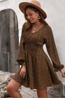 Robe courte imprimée à col en V et manches ballon à taille smockée marron