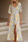 Vestido largo con mangas alegres y estampado floral con abertura