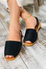 حذاء نسائي أسود بفتحة من الجلد الصناعي PU منخفض القطع