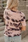 Camiseta rosa con cuello en V tie-dye