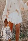 أبيض اللون الصلبة عالية الخصر المتدرج الكروشيه تنورة ميني كشكش