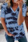 Camiseta con cuello en V tie-dye celeste