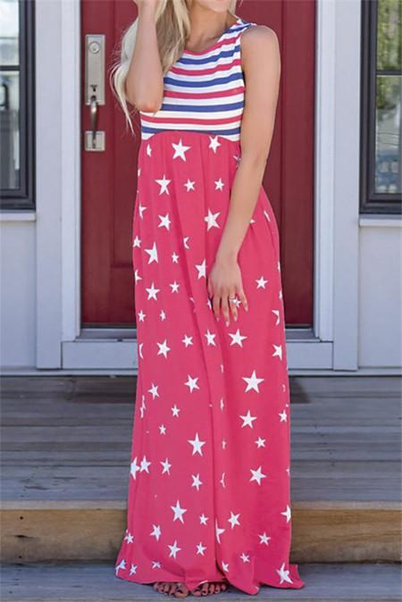 Платье макси без рукавов с красными полосками и звездами с карманами
