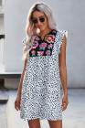 Повседневное платье с цветочным принтом и леопардовым принтом