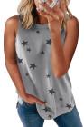 Camiseta sin mangas con aberturas y estampado de estrellas gris