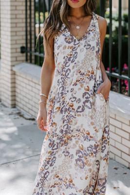 فستان رومانسي بفتحة رقبة على شكل V مطبع بدون أكمام