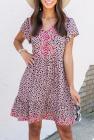 Мини-платье с цветочным принтом и вышивкой в виде гепардов